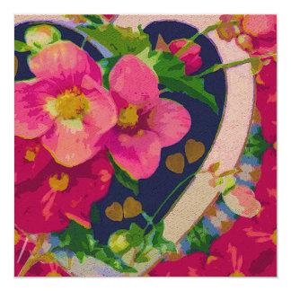 Heart & Flowers 13 Cm X 13 Cm Square Invitation Card