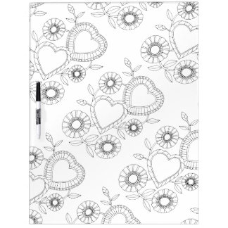Heart Flowers Adult Coloring Dry Erase Board