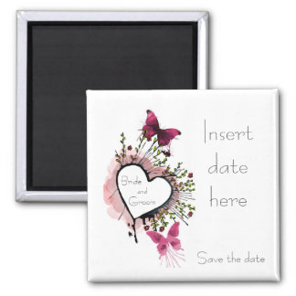 Heart, flowers and butterflies Save the date Square Magnet
