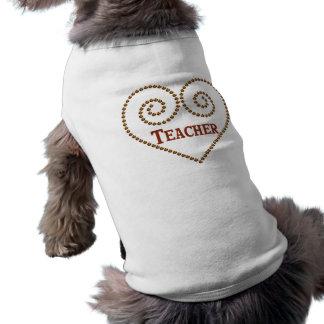 Heart For Teacher Dog Shirt