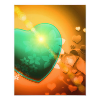 Heart Fractal Romantic Playful Love Orange Teal Photographic Print