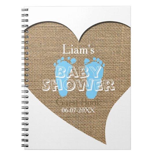 Heart Frame Burlap Boy Baby Shower Guest Book