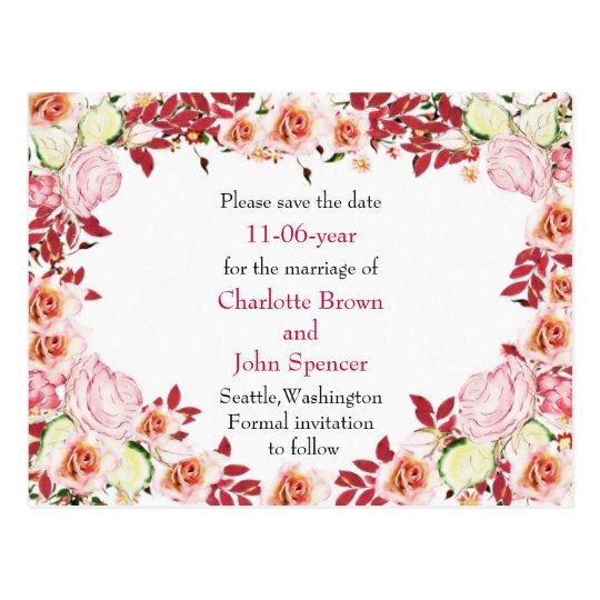 Heart Frame Coral Pink Roses Wedding Postcard