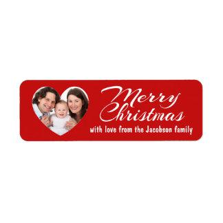 Heart Frame Family Photo Merry Christmas Return Address Label