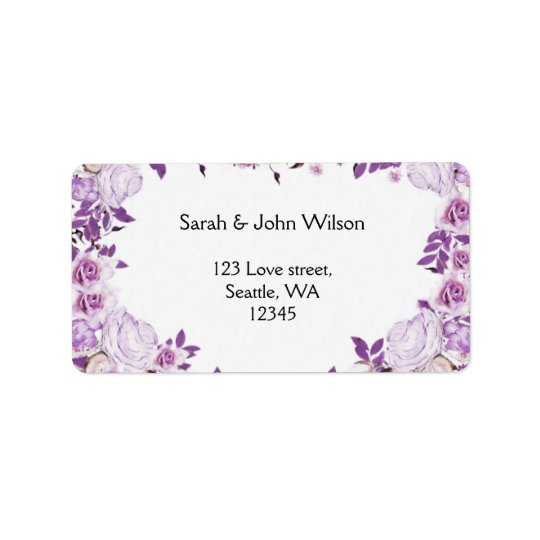 Heart Frame Purple Lavender Roses Wedding Address Label