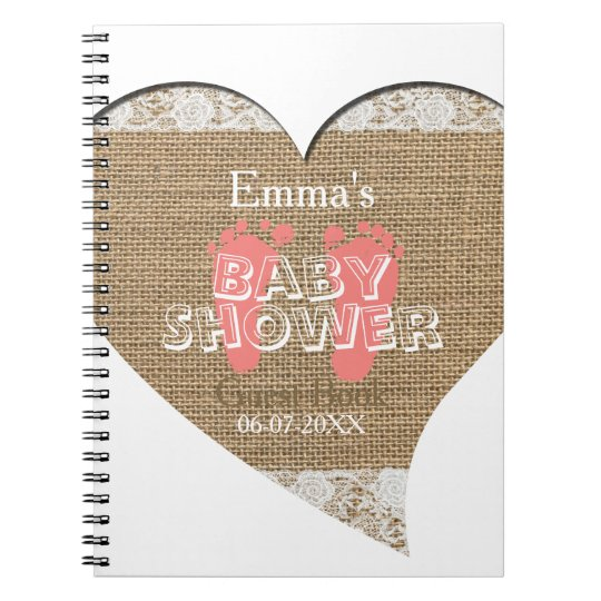 Heart Frame Vintage Lace Baby Shower Guest Book