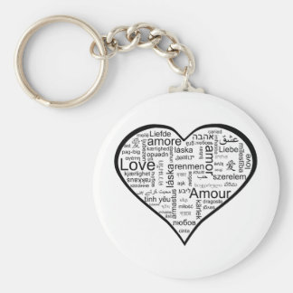 Heart full of Love in Different Languages Key Ring
