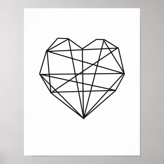 Heart Geometric Art Minimal Wall Decor black white
