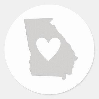 Heart Georgia state silhouette Classic Round Sticker