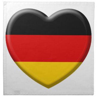 Heart German flag I like Germany Printed Napkins