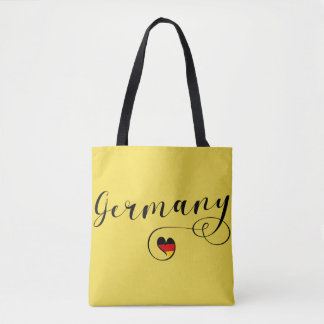 Heart Germany Grocery Bag, German Flag Tote Bag
