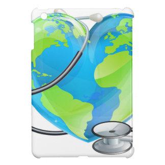 Heart Globe Stethoscope Earth World Health Concept iPad Mini Cover