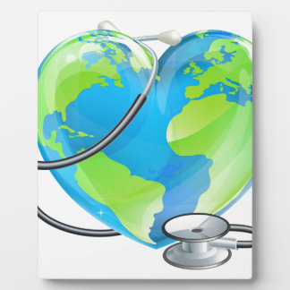 Heart Globe Stethoscope Earth World Health Concept Photo Plaques
