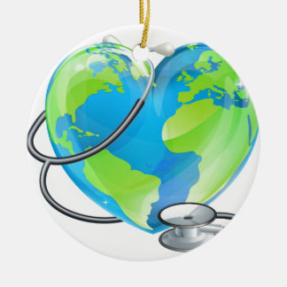 Heart Globe Stethoscope Earth World Health Concept Round Ceramic Decoration
