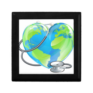 Heart Globe Stethoscope Earth World Health Concept Small Square Gift Box