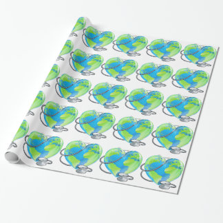 Heart Globe Stethoscope Earth World Health Concept Wrapping Paper