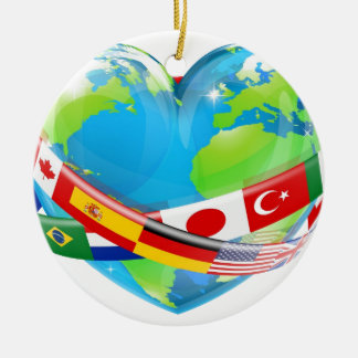 Heart globe with flags ornaments