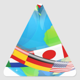 Heart globe with flags triangle stickers