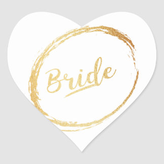 heart gold bride sticker