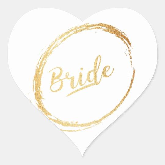 heart gold bride sticker