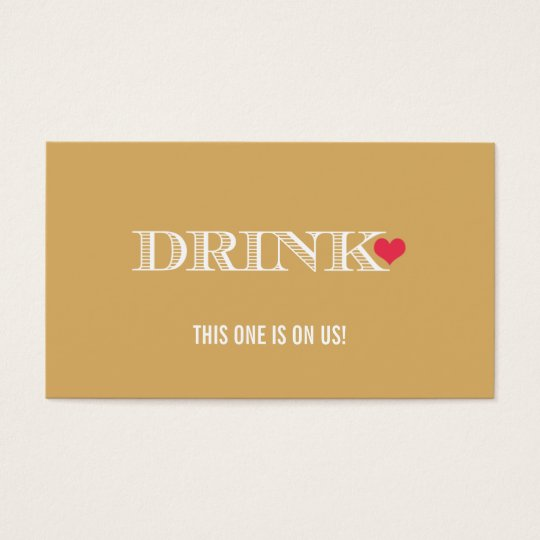 Heart Gold Red Wedding Drink Ticket