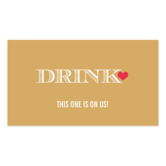 Heart Gold Red Wedding Drink Ticket Pack Of Standard Business Cards
