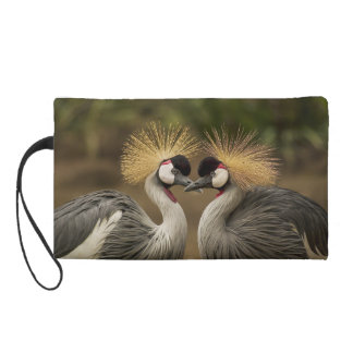 Heart Gray Crowned Crane Bird Photography Print Wristlet