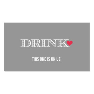 Heart Grey Red Wedding Drink Ticket Pack Of Standard Business Cards