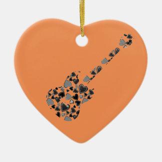 Heart Guitar Christmas Ornament