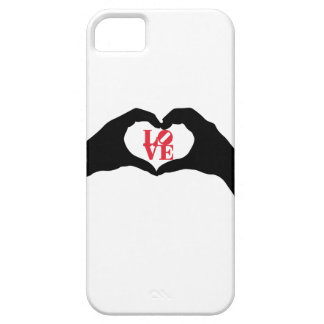 Heart hand gesture and LOVE graphic word in red iPhone 5 Cases
