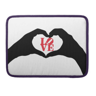 Heart Hand Shape and LOVE word graphic art MacBook Pro Sleeves