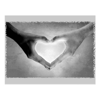 Heart Hands B&W Photo Postcard