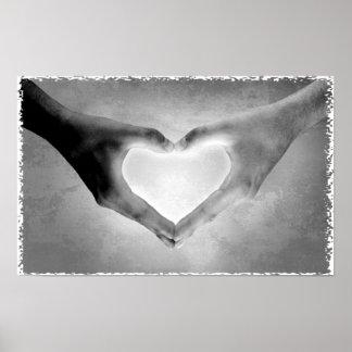 Heart Hands B&W Photo Poster
