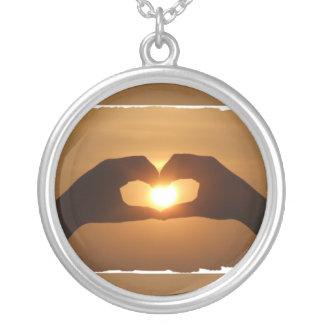 Heart Hands Sunset Necklace