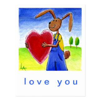 Heart Hare Postcard