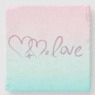 Heart + Heart = Love Stone Beverage Coaster