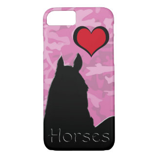 Heart Horse I (pink camo) iPhone 7 Case