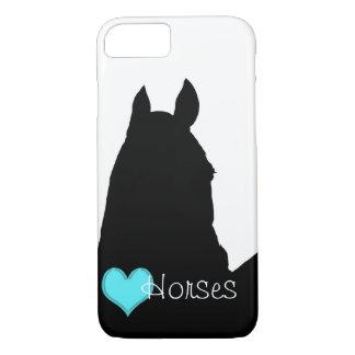 Heart Horses I Aqua Heart (white background) iPhone 7 Case