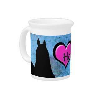 Heart Horses I (blue/green) Drink Pitchers
