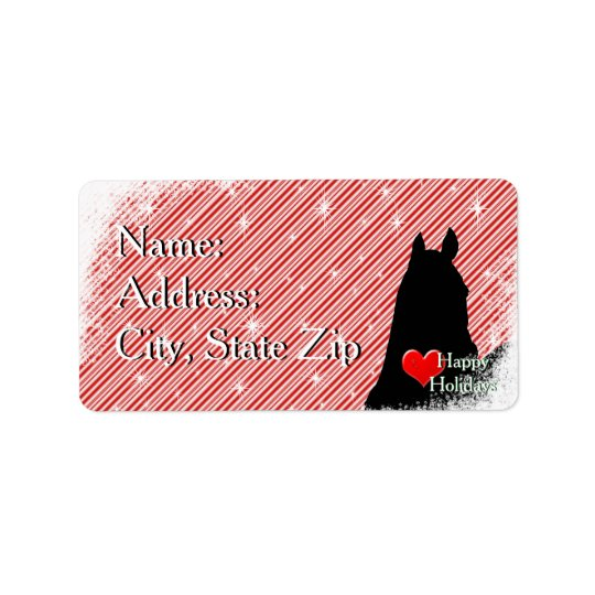 Heart Horses I Holiday (Candy Cane Bkgrd) Label