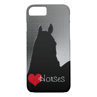 Heart Horses I Red Heart (silver metallic) iPhone 7 Case