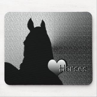 Heart Horses I Silver Heart (silver metallic) Mouse Pad