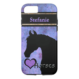 Heart Horses III Customizable (purple/blue) iPhone 7 Case