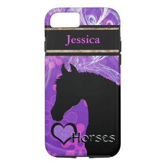 Heart Horses III Customizable (purple flowered) iPhone 7 Case