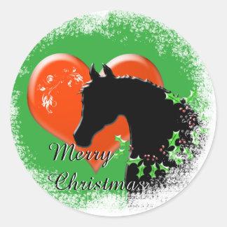 Heart Horses III Holiday (Black Horse/Red Heart) Round Sticker