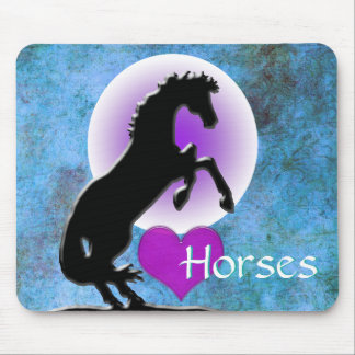 Heart Horses V (blue/green) Mouse Pad