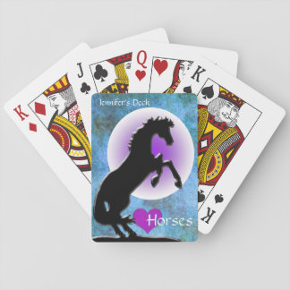 Heart Horses V (blue/green) Playing Cards