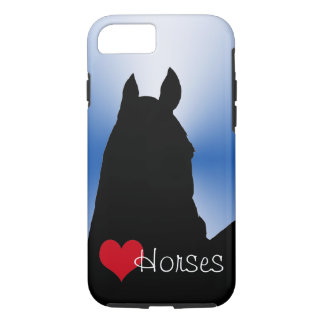 Heart Horses with Red Heart (blue metallic burst) iPhone 7 Case