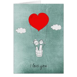 Heart Hot Air Balloon Greeting Card