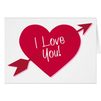 Heart I Love You Pink Burgundy Red Wedding Card